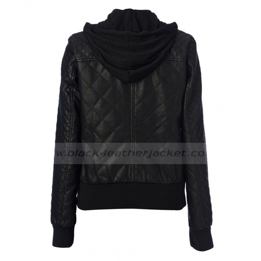 c5a1566c228 Women s Bomber Quilted Black Faux Hooded Leather Jacket