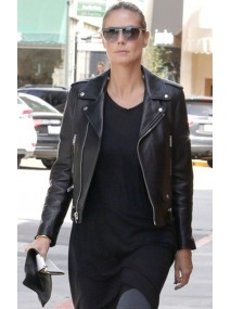 Heidi Klum Black Leather Jacket