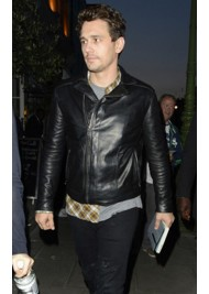 Leaving Charlotte Street Hotel James Franco Black Leather Jacket