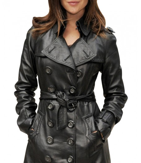 Julia Restoin Roitfeld Double Breasted Black Leather Coat