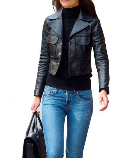 Katie Holmes Black Leather Jacket