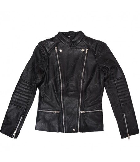 Kendall Jenner Black Leather Quilted Jacket