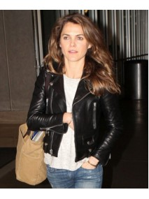 Keri Russell Black Leather Biker Jacket