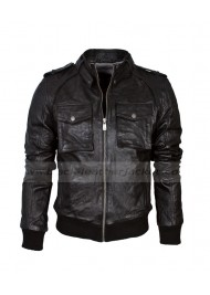 Black Leather Bomber Biker Jacket Mens
