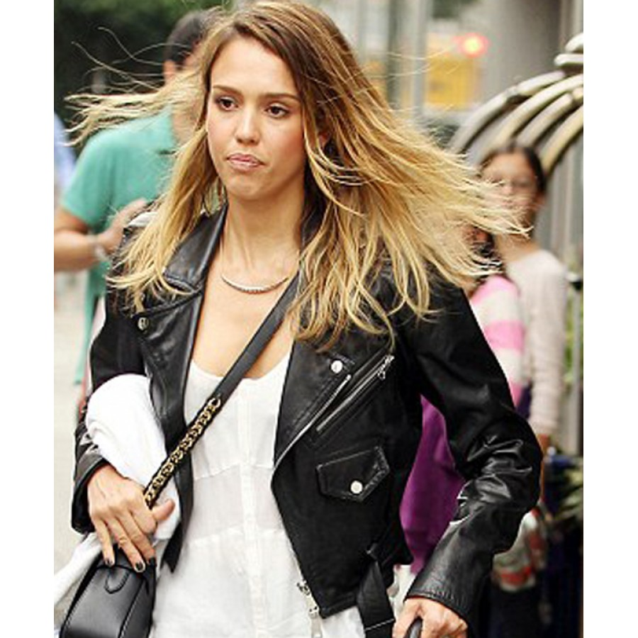 c7bfa04854 Jessica Alba Jacket | Women's Black Leather Biker Jacket