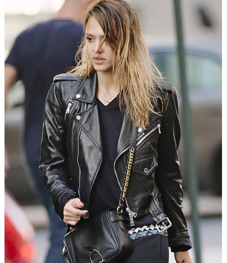 Jessica Alba Black Leather Biker Jacket