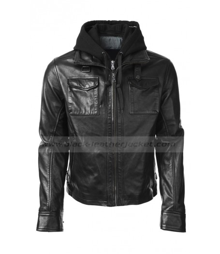 Oliver Queen Black Leather Jacket with Hooded