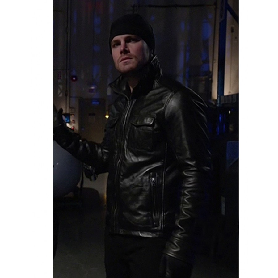 64417c57e41 Oliver Queen Black Leather Jacket with Hooded