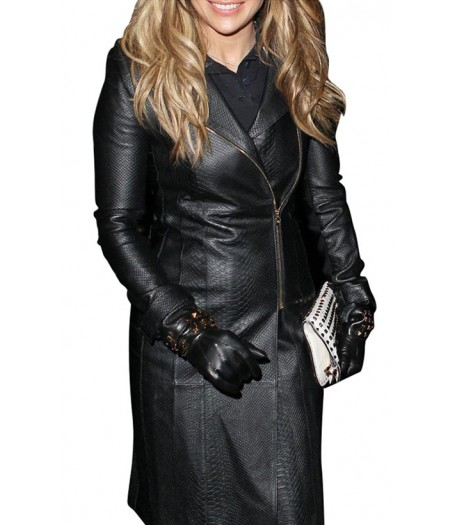 Jennifer Lopez Black Leather Coat