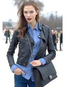 Karlie Kloss Black Leather Jacket