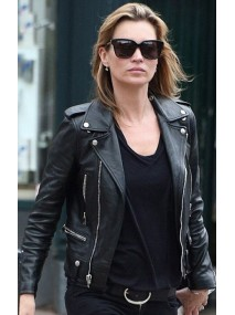 Stylish Kate Moss Black Leather Biker Jacket