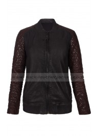 Kristen Stewart Black Leather Bomber Jacket