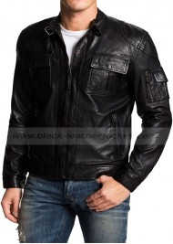 Designer Black Leather Motorcycle Jacket for Men