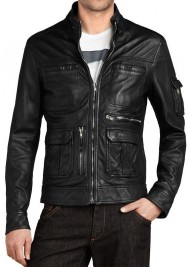 New Style Black Leather Slim Fit Biker Jacket for Men