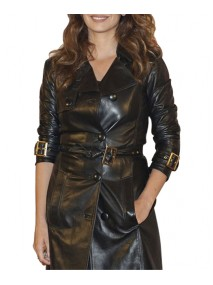 Penelope Cruz Black Leather Coat