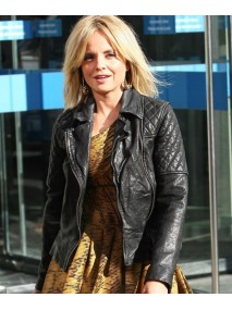 Mena Suvari Black Leather Quilted Jacket
