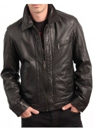 Shirt Style Collar Front Zip Closure Black Leather Jacket