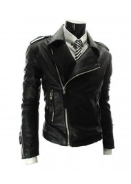 Asymmetrical Zip Style Mens Slim Fit Leather Biker Jacket