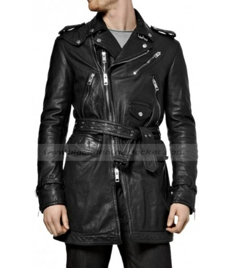 Motorcycle Black Leather Trench Coat Men