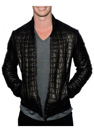 Patrick Schwarzenegger Black Leather Quilted Jacket