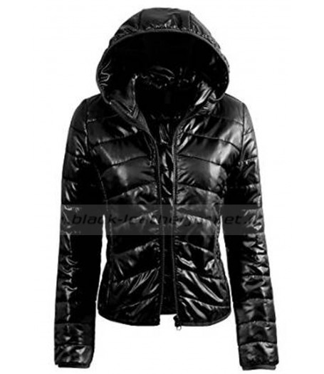 Womens Fitted Black Down Puffer Jacket With Hood