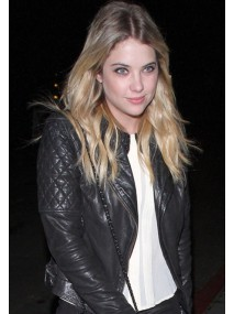 Ashley Benson Black Quilted Leather Moto Jacket