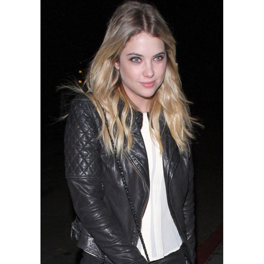 Ashley Benson Leather Jacket | Womens Black Quilted Moto Jacket