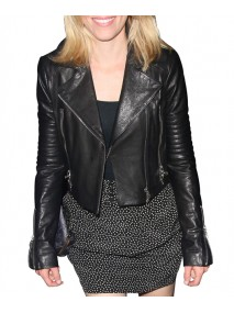 Elizabeth Banks Black Leather Quilted Jacket