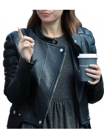 Kate Mara Black Leather Quilted Jacket