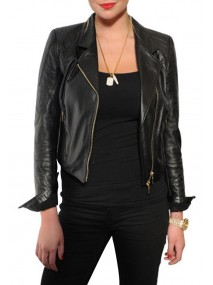 Kate Upton Black Leather Quilted Jacket