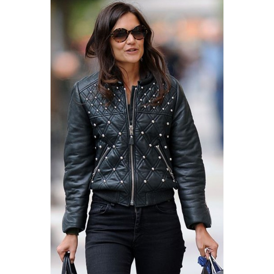 ... Katie Holmes Black Leather Quilted Bomber Jacket ... - Katie Holmes Leather Jacket Womens Black Quilted Bomber Jacket