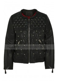 Katie Holmes Black Leather Quilted Bomber Jacket