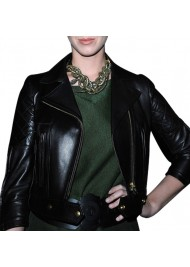 Katy Perry Black Quilted Leather Jacket
