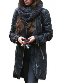 Selena Gomez Black Quilted Leather Coat