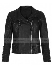 Shailene Woodley Black Leather Quilted Jacket