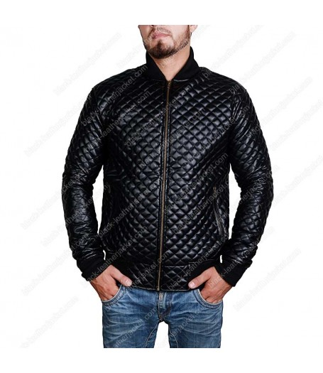 Slim Fit Black Quilted Faux Leather Motorcycle Jacket for Mens