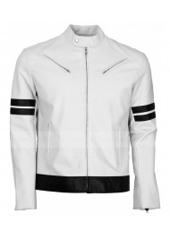 Mens Black Stripped White Leather Biker Jacket
