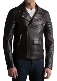 Classic Style Black Leather Biker Jacket for Men