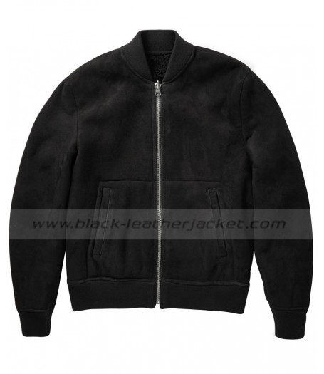 David Beckham Black Suede Bomber Jacket