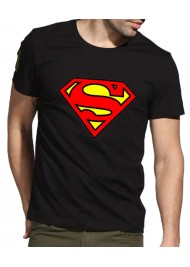 Red and Yellow Superman Logo Black T-Shirt