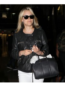 Taylor Schilling Black Leather Quilted Jacket
