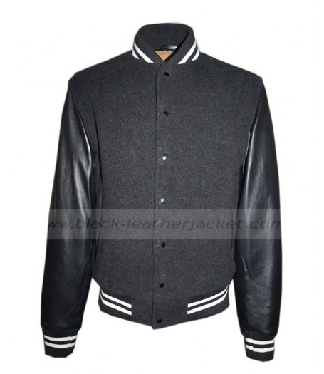 Varsity Wool Jacket With Black Leather Sleeves