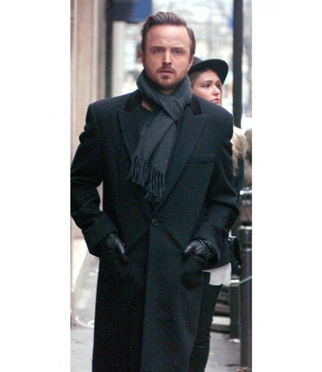 Aaron Paul Black Wool Coat