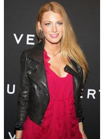 Blake Lively Black Leather Biker Jacket
