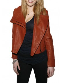 Blake Lively Orange Leather Jacket