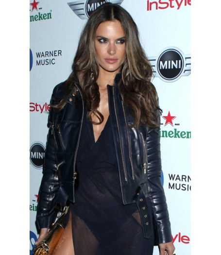 Alessandra Ambrosio Blue Leather Jacket