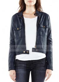 Castle Kate Beckett Blue Leather Cropped Moto Jacket