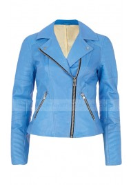 Michelle Keegan Blue Leather Jacket