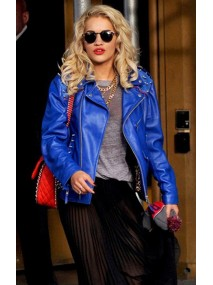 Rita Ora Blue Leather Studded Jacket