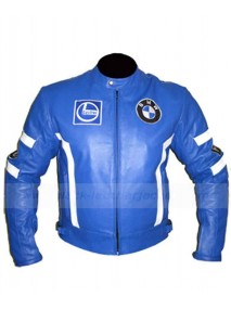 Blue Motorcycle Racing BMW Leather Jacket